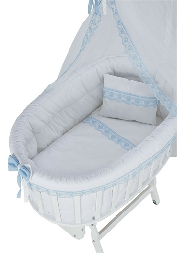 Babycom Lake Beyaz Sepet Beşik + Gri Zikzak Uyku Seti Mavi